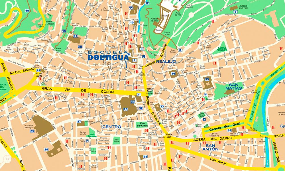 Granada Karte.Gratis Materialien Spanisch Sprachschule Delengua