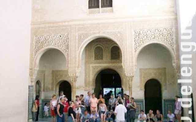 Visitors inside the Alhambra